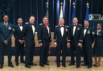 Members of the Misawa Chapel Team pose for a photo at the 35th Fighter Wing 2019 Annual Award ceremony at Misawa Air Base, Japan, Feb. 7, 2020. The team recently won the prestigious Terence P. Finnegan Award, which recognizes the Air Force's Outstanding Medium Chapel Team of the Year. (Courtesy photo)