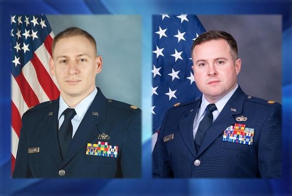 Air Force Maj. Justin D'Agostino and Air Force Maj. Charles Coffman