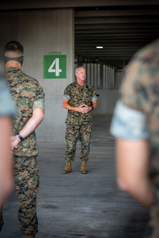 Sgt. Maj. Bryan K. Zickefoose, the senior enlisted leader of U.S. Southern Command, addresses the Marines and Sailors of Special Purpose Marine Air-Ground Task Force - Southern Command at Camp Lejeune, North Carolina, July 17, 2020. During the visit, Sgt. Maj. Zickefoose shared his professional guidance and mentorship with the Marines and Sailors and congratulated them on their hard work preparing for the mobilization of the task force. The task force is prepared and postured to deploy to the Latin American and the Caribbean region to work alongside partner nation militaries, enhancing combined crisis response efforts. (U.S. Marine Corps photo by Sgt. Andy O. Martinez)