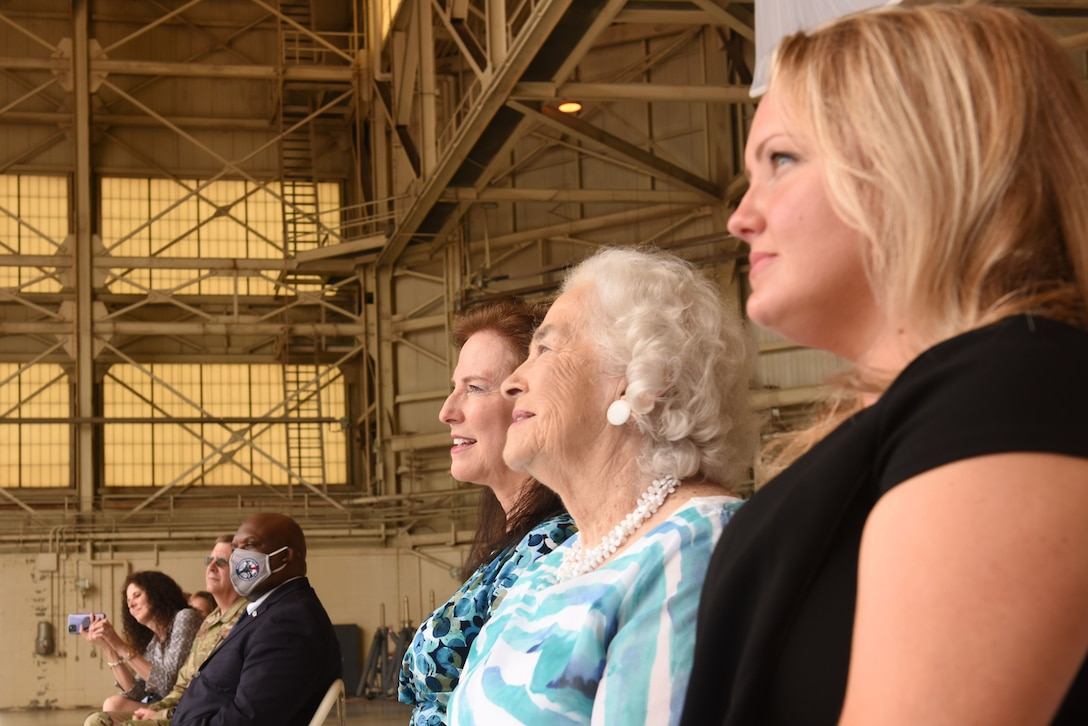 Family members of U.S. Air Force Brig. Gen. Allan R. Cecil, North Carolina National Guard (NCNG) Chief of Staff, listen as Brig. Gen. Cecil thanks them for their love and support during his promotion ceremony at the North Carolina Air National Guard Base, Charlotte Douglas International Airport, July 18, 2020. Family, friends, and guard members gather to watch Col. Cecil pin on the rank of Brigadier General.