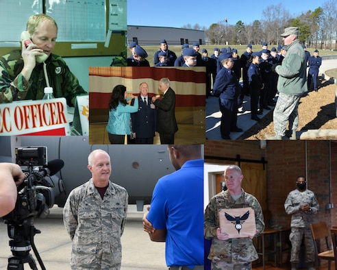A collage of photos with newly pinned Brigadier General Allan R. Cecil spanning his time spent with the North Carolina Air National Guard.