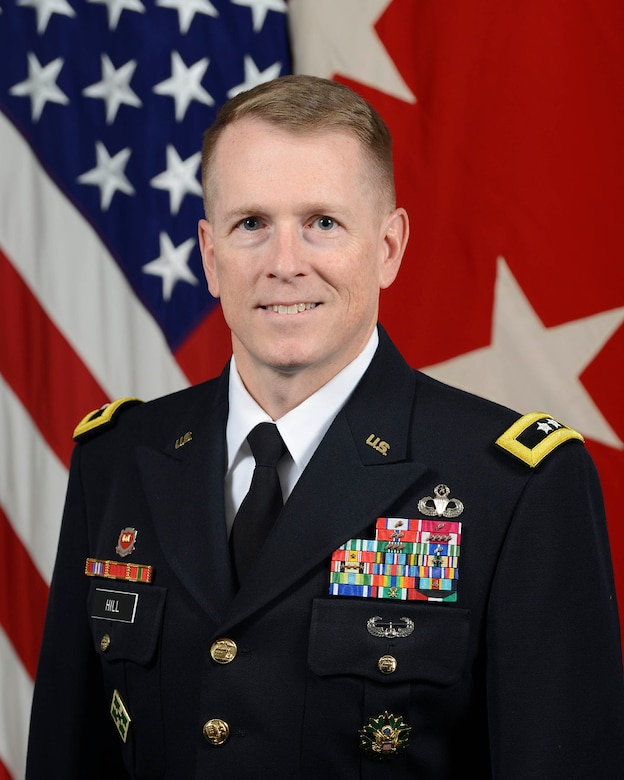 U.S. Army Maj. Gen. David C. Hill, Deputy Commanding General, U.S. Army Central  (USARCENT), poses for a command portrait in the Army portrait studio at the Pentagon in Arlington, Va., July 12, 2018.  (U.S. Army photo by Monica King)