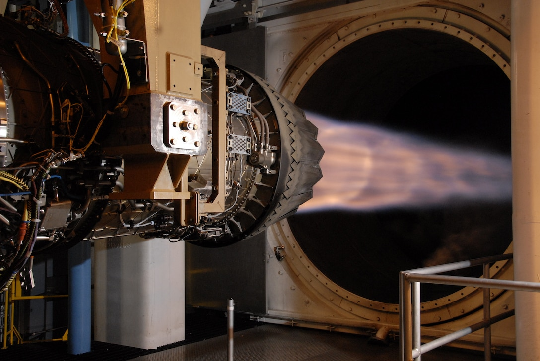A Pratt & Whitney F135 engine for the F-35 Lighting II Joint Strike Fighter undergoes testing in the AEDC Sea Level 3 engine test cell.  Using a work station, known as the Remote Data Room, in the Propulsion Systems Evaluation Facility (PSEF) at Naval Air Station Patuxent River, Maryland, the PSEF test team is able to successfully monitor live engine testing, such as this, for the F135 occurring at Arnold Air Force Base. (U.S. Air Force photo)