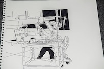 A NHARNG mechanic at work at a field maintenance shop is depicted here in one of Pfc. Kevin Blackstone's many drawings.