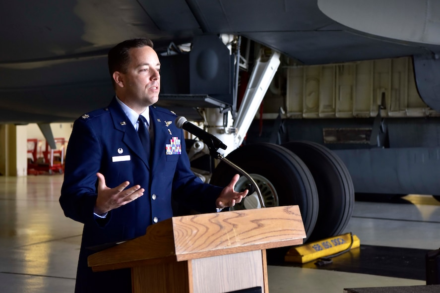 U.S. Air Force Lt. Col. Clayton Rabens, the new 354th Medical Operations Squadron commander, addresses the audience at an assumption of command ceremony at Eielson Air Force Base, Alaska, July 17, 2020. Rabens is a senior flight surgeon with 452 flight hours in 25 different military aircraft, including 54 combat hours. (U.S. Air Force photo by Senior Airman Beaux Hebert)