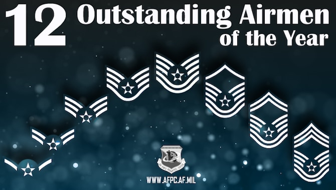 Blue graphic with each enlisted rank spread across the image