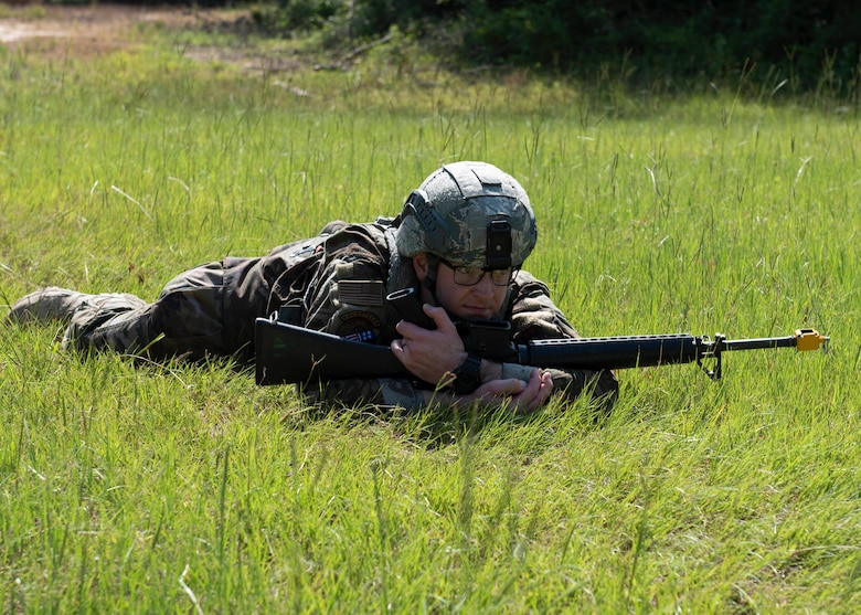 Staff Sgt James Stevick, 4th Maintenance Group crew chief, practices tactical movements during a combat skills training course at Seymour Johnson Air Force Base, North Carolina, July 13, 2020.