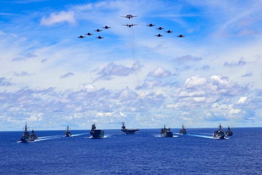 The Ronald Reagan Carrier Strike Group and units from the Japan Maritime Self-Defense Force (JSMDF) and Australian Defense Force (ADF) participate in trilateral exercises supporting shared goals of peace and stability, while enhancing regional security and the right of all nations to trade, communicate, and choose their destiny in a Free and Open Indo-Pacific. The Ronald Reagan Carrier Strike Group is the U.S. Navy's only forward-deployed strike group and one of America's most visible symbols of resolve.
