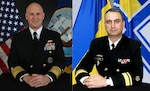 Vice Admiral Eugene Black Commander of the U.S. 6th Fleet, Naval Striking and Support Forces NATO (left) and Rear Admiral Oleksiy Neizhpapa Commander of the Naval Forces of the Armed Forces of Ukraine