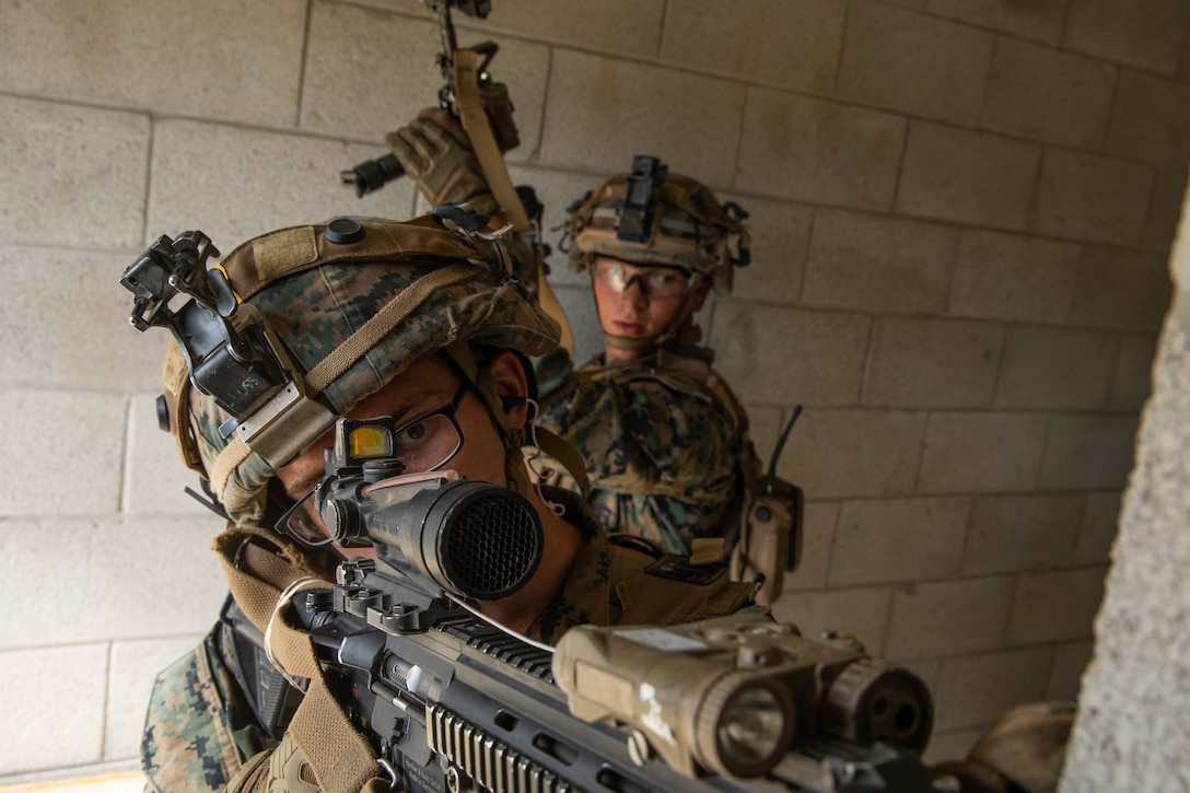 U.S. Marines clear a room during Military Operations in Urban Terrain training on Marine Corps Base Camp Pendleton, Calif., July 14.