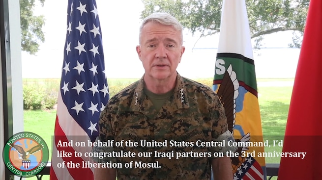 U.S. Marine Corps Gen. Kenneth F. McKenzie Jr. , commander, U.S. Central Command, recognizes the 3rd anniversary of the liberation of Mosul.