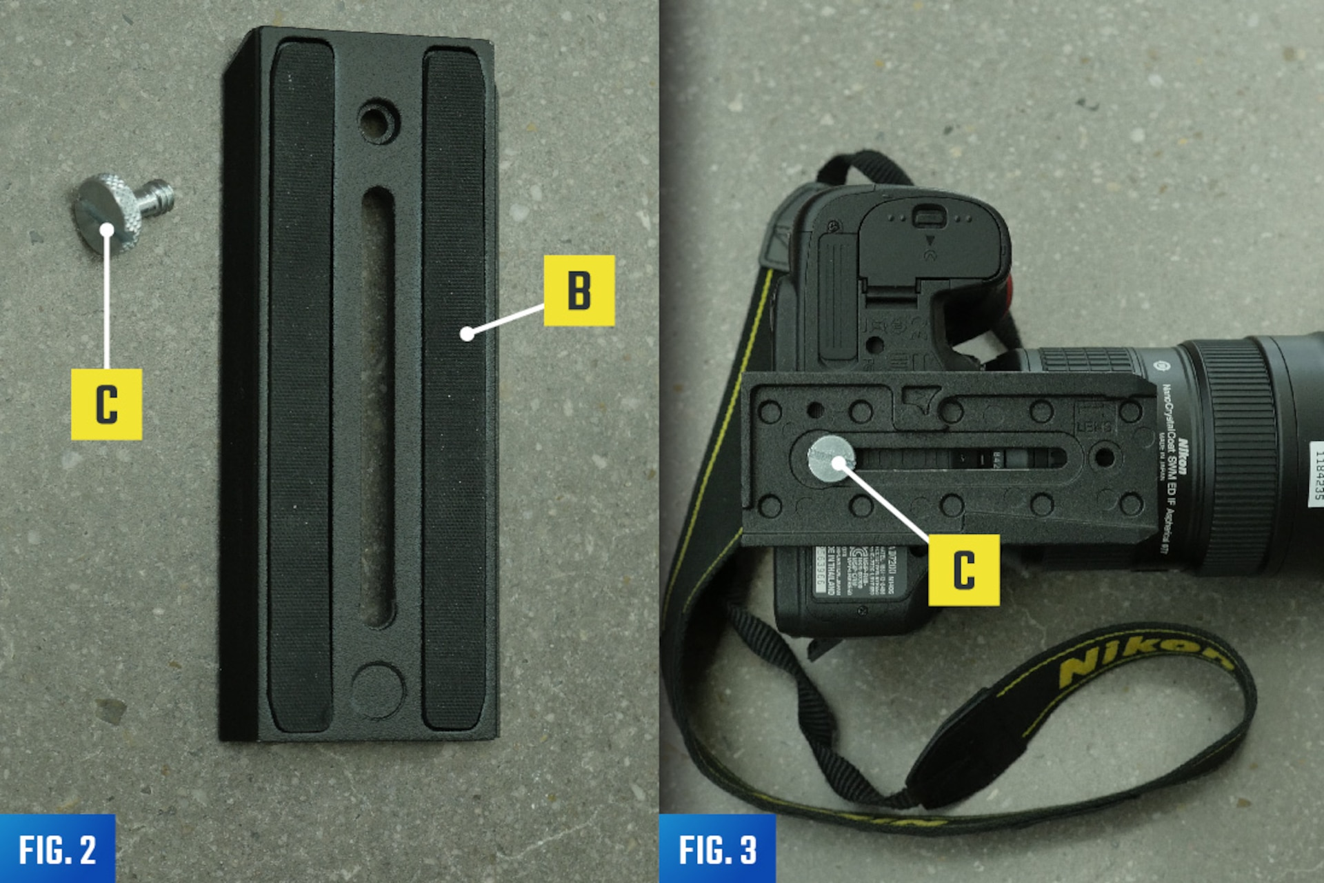 Fitting the Quick Release Plate to a Camera/Audio Recorder
