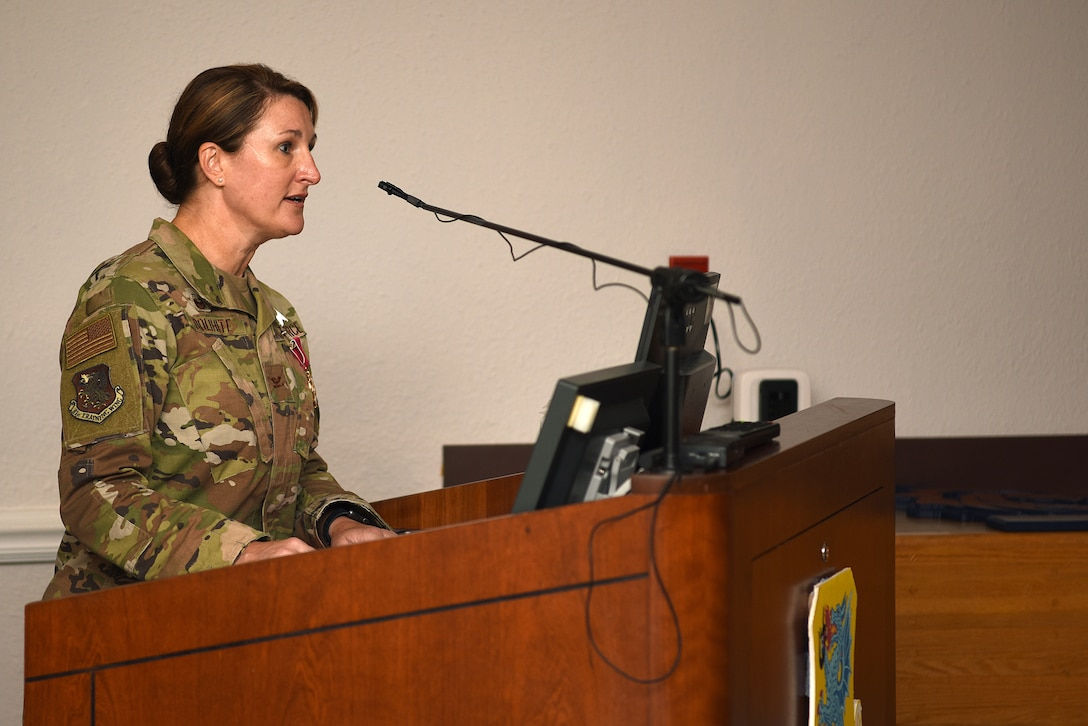 U.S. Air Force Col. Beatrice Dolihite, outgoing 81st Medical Group commander, delivers remarks during the 81st MDG change of command ceremony inside the Don Wiley Auditorium at Keesler Air Force Base, Mississippi, July 21, 2020. Dolihite relinquished command to Col. Christopher Estridge, incoming 81st MDG commander. (U.S. Air Force photo by Senior Airman Suzie Plotnikov)