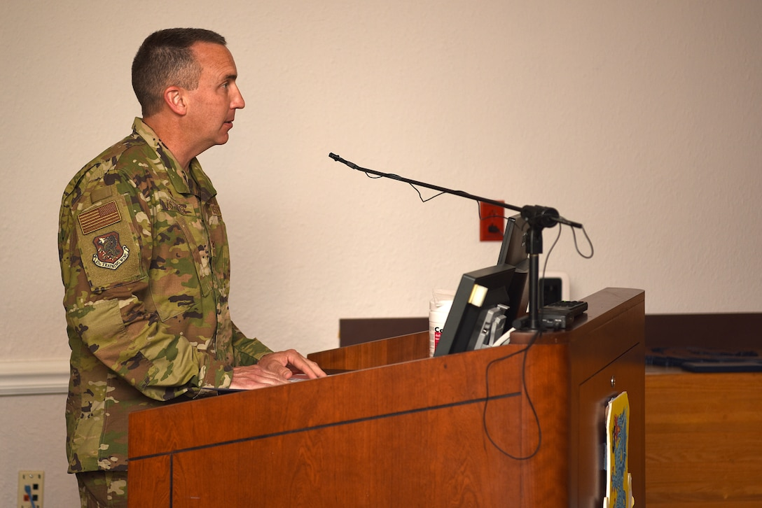 U.S. Air Force Col. Christopher Estridge, 81st Medical Group commander, delivers remarks during the 81st MDG change of command ceremony inside the Don Wiley Auditorium at Keesler Air Force Base, Mississippi, July 21, 2020. Col. Beatrice Dolihite, outgoing 81st MDG commander, relinquished command to Estridge. (U.S. Air Force photo by Senior Airman Suzie Plotnikov)