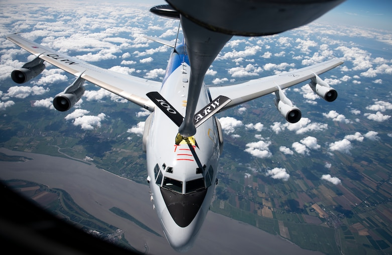 "A NATO E-3 Sentry from Geilenkirchen NATO Air Base receives fuel from a U.S. Air Force KC-135 Stratotanker assigned to the 100th Air Refueling Wing, RAF Mildenhall, England, over Germany, July 17, 2020. The 100th ARW is the only permanent U.S. air refueling wing in the European theater, providing the critical air refueling ""bridge"" which allows the Expeditionary Air Force to deploy around the globe at a moment's notice. (U.S. Air Force photo by Tech. Sgt. Emerson Nuñez)"