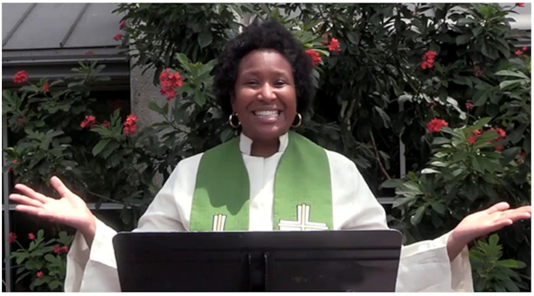 Air Force Chaplain (Capt.) Kimberly Hall welcomes viewers to a virtual service being livestreamed from Joint Base San Antonio-Lackland July 12, 2020.