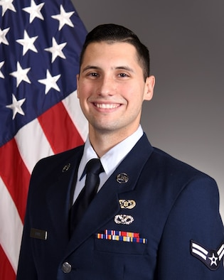 Official portrait of U.S. Air Force Airman 1st Class Dominic Davis, 17th Civil Engineer Squadron emergency manager, taken on Goodfellow Air Force Base, Texas, July 10, 2020.(Courtesy Photo)