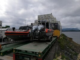 Two Seattle-based Coast Guard Maritime Safety and Security Team (MSST) 29-foot Response Boat-Smalls sit on a barge ready to deploy for use in Sitka, Alaska, June 30, 2020. Coast Guard MSST teams are scheduled to conduct waterborne missions in Sitka throughout July and August as Sector Juneau augments its capabilities with small boat teams from MSST-Seattle. U.S. Coast Guard photo by Chief Petty Officer Joseph Wozniak.