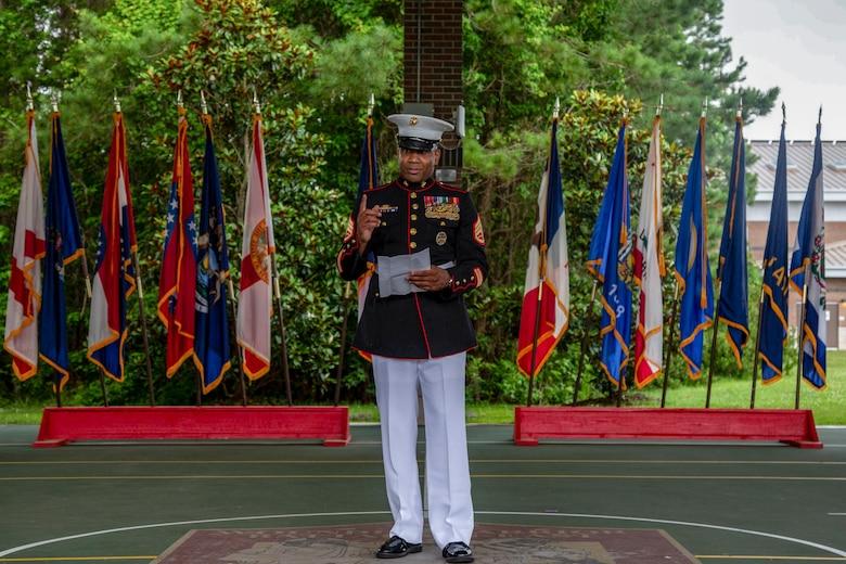 U.S. Marine Corps Staff Sgt. Darron Dale with Wounded Warrior Battalion-East (WWBN-E) retired on Marine Corps Base Camp Lejeune, North Carolina, June 19, 2020.