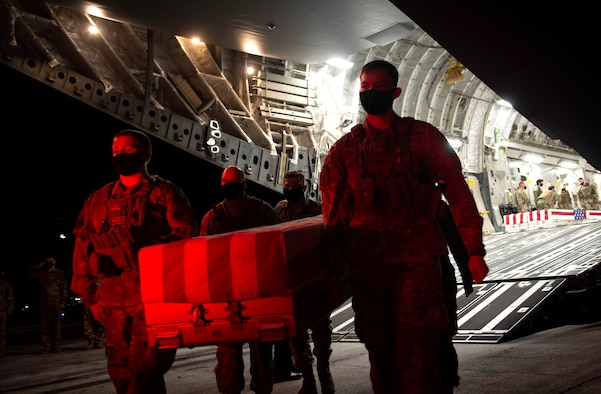 A photo of Team Offutt conducting a dignified transfer of remains