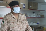 Kuwaiti Col. Raed Altajalli speaks with U.S. Army Soldiers of the 3rd Medical Command on in a quarantine facility, Kuwait, July 3rd, 2020. U.S. and Kuwaiti forces have been working together to stop the spread of COVID-19 in Kuwait. (U.S. Army photo by Sgt. Andrew Valenza)