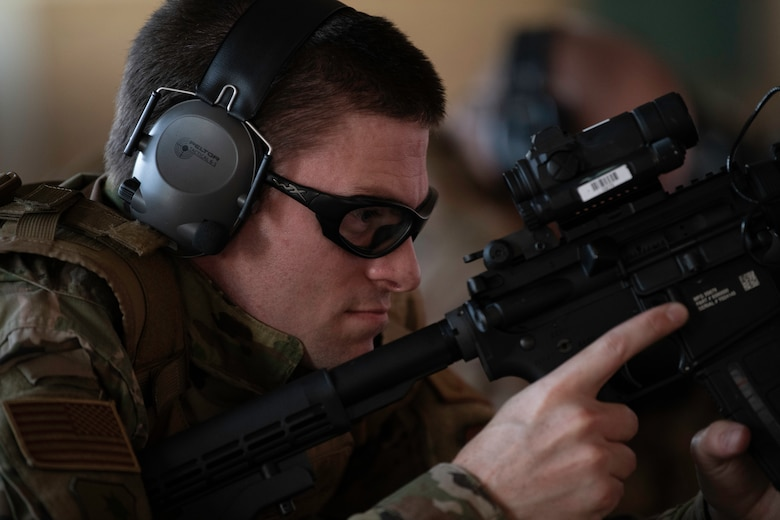 U.S. Air Force Capt. Gregory Speirs, 621st Contingency Response Wing judge advocate, reloads his M-4 carbine rifle May 27, 2020, at Travis Air Force Base, California. Speirs participated in an M-4 Rifle/Carbine Air Force qualification course at the 60th Security Forces Squadron combat arms training and maintenance range. (U.S. Air Force photo by Tech. Sgt. James Hodgman)
