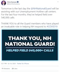 """New Hampshire Gov. Chris Sununu Tweets a THANK YOU @NHNationalGuard  """"who have played an invaluable role in helping NH respond to #COVID19."""""""