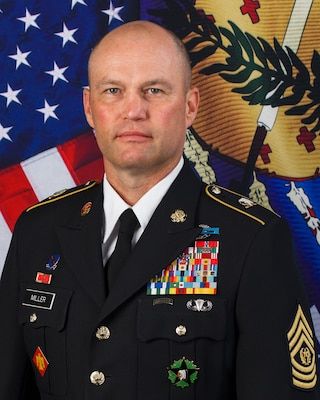 Official photo of Oklahoma state Command Sergeant Major CSM Christopher L. Miller.
