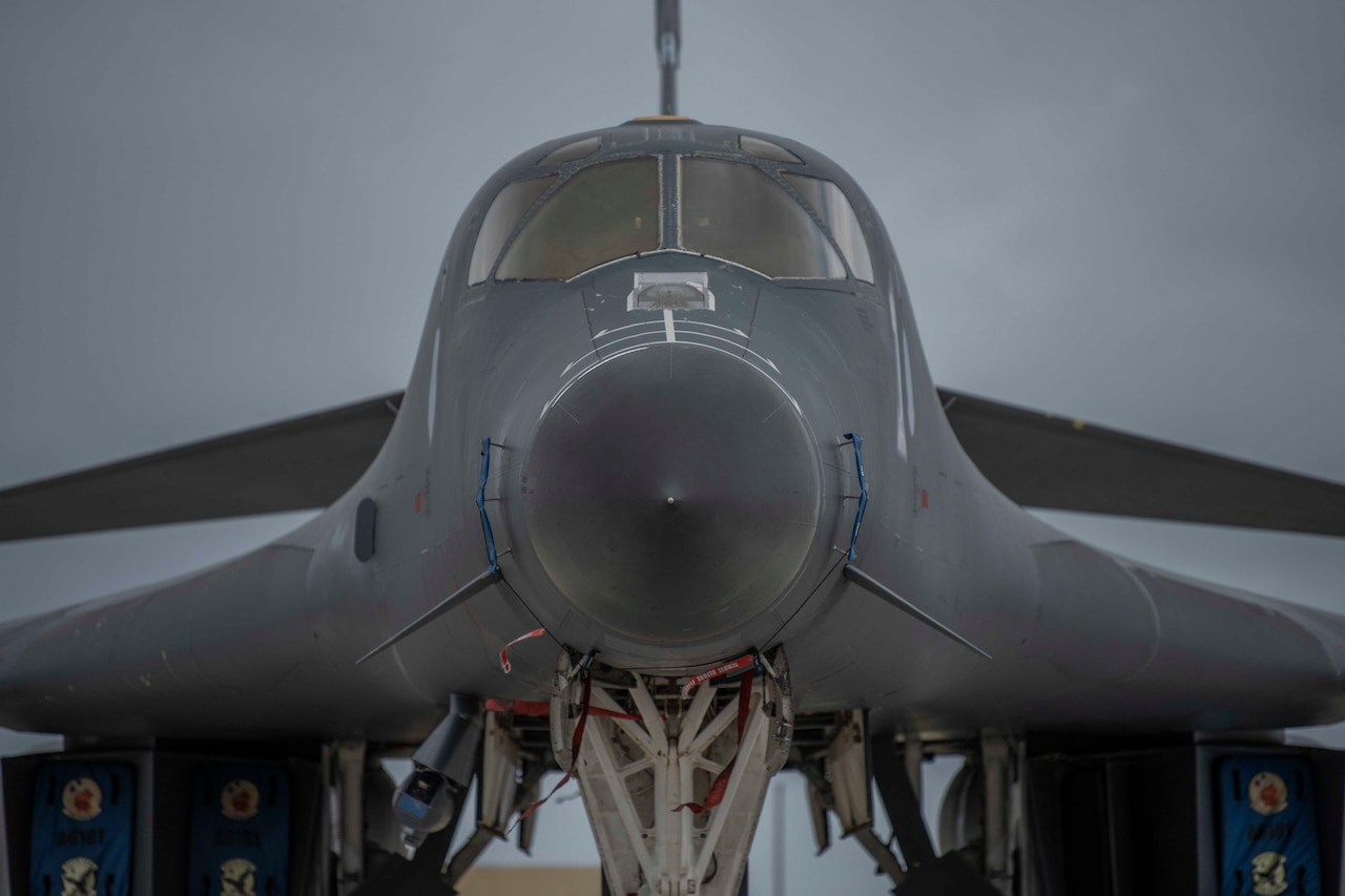 Nose-on view of a B-1.