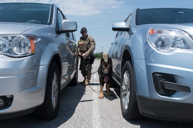 Staff Sgt. Michael Smith, 22nd Security Forces Squadron military working dog trainer, and Drago, a nine-year-old German Sheppard SFS MWD, perform a security sweep July 14, 2020 at McConnell Air Force Base, Kansas. Smith and Drago have been partners since February 2020 and train daily to perform security details, drug and explosive ordinance sweeps. (U.S. Air Force photo by Senior Airman Alexi Bosarge)