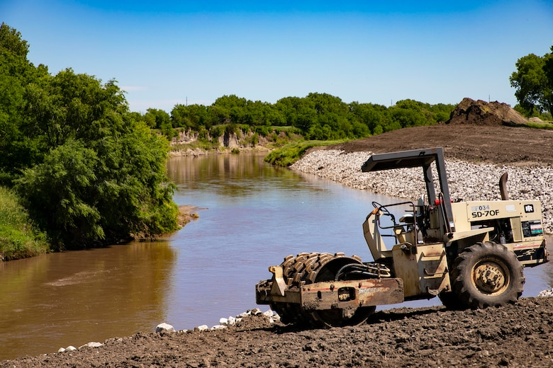 U.S. Army Corps of Engineers from the Omaha District evaluate repairs to the Salt Creek Levee system in Lincoln, Nebraska. The firm-fixed-priced contract for the levee repairs,near Deadman's Run, was advertised to the Pre-qualified Sources List.