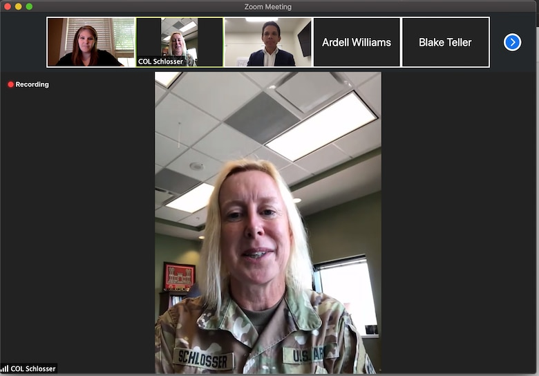 U.S. Army Engineer Research and Development Center (ERDC) Commander Col. Teresa Schlosser joins a virtual crowd at the monthly Vicksburg-Warren County Chamber of Commerce luncheon to share stories about the incredible research happening in Vicksburg.