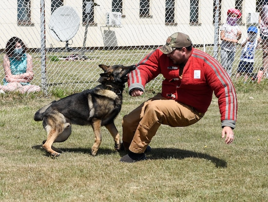 U.S. Air Force Senior Airman Erik Barrera, 52nd Security Forces Squadron military working dog handler, and Axel, an MWD, conduct an intruder exercise at Spangdahlem Air Base, Germany, July 22, 2020. The 52nd SFS MWD handlers performed a demonstration for Spangdahlem AB families and their children. (U.S. Air Force photo by Senior Airman Melody W. Howley)