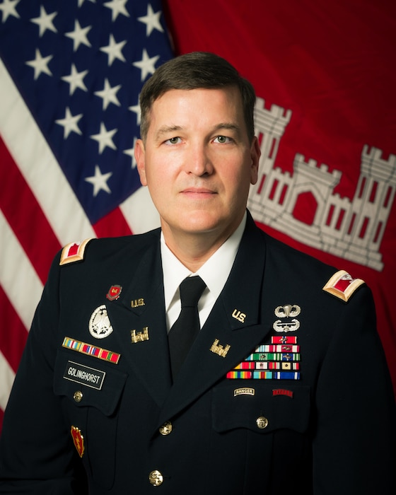 Colonel Kevin R. Golinghorst assumes duties as the 53rd Commander of the St. Louis District after serving as the Army Capability Manager – Geospatial at Fort Leonard Wood in Missouri. He now leads a civilian and military workforce of nearly 750 personnel in executing the diverse mission of providing civil works and interagency support along the Mississippi River in Missouri and Illinois.