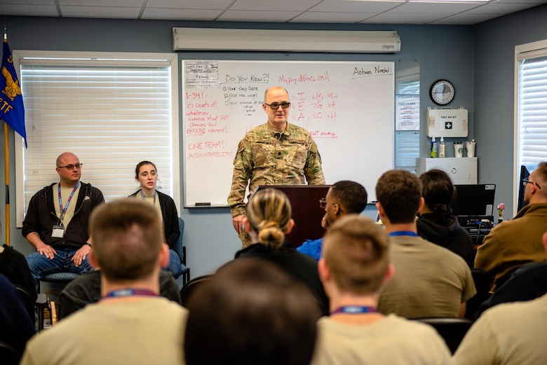 Lt. Col. Greg Russell, 919th Special Operations Medical Squadron optometrist, speaks to students from the Development and Training Flight at Duke Field, Florida, March 7, 2020. (U.S. Air Force photo by Senior Airman Dylan Gentile)