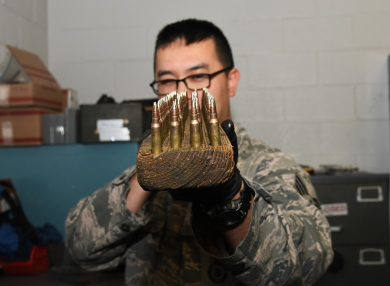 A photo of an Airman taking inventory.