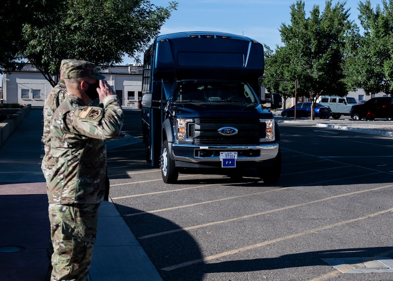 U.S. Air Force Maj. Gen. Michael J. Lutton 20th Air Force commander, arrived at the 377th Air Base Wing Headquarters.