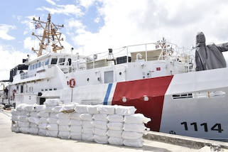 The crew of the Coast Guard Cutter Heriberto Hernandez offloaded 55 bales of cocaine.