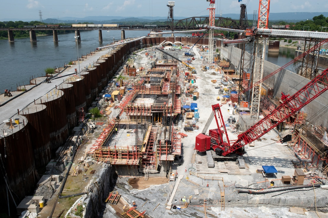 U.S. Army Corps of Engineers and Shimmick construction crews work to construct monoliths July 21, 2020 for a new navigation lock as part of the Chickamauga Lock Replacement Project at the Tennessee Valley Authority project. (USACE Photo by Lee Roberts)