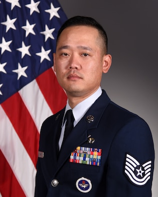Official portrait of Tech. Sgt. Samuel Han, 316th Training Squadron instructor, taken on Goodfellow Air Force Base, Texas, Jan. 31, 2020. (U.S. Air Force photo by Airman 1st Class Abbey Rieves.)