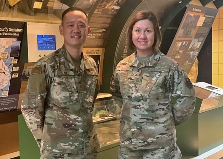 U.S. Air Force Tech. Sgt. Samuel Han, 316th Training Squadron instructor, and Chief Master Sgt. JoAnne S. Bass, Chief Master Sgt. of the Air Force, stand at parade rest in the Norma Brown building, on Goodfellow Air Force Base, Texas, November 20, 2019. Han considers Bass a mentor, they met while Bass was the 2nd Air Force Command Chief. (Courtesy photo)