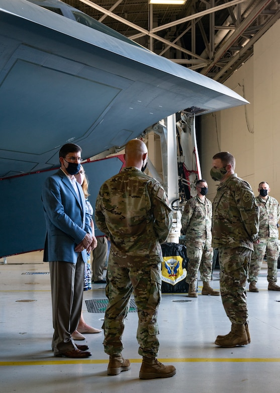 U.S. Secretary of Defense Dr. Mark T. Esper  speaks with 509th and 131st Bomb Wing maintainers during a visit at Whiteman Air Force Base, Missouri, July 22, 2020. During his visit Esper received an in-person introduction to various aspects of Team Whiteman's mission, total-force integration with its Air National Guard partner unit and maintenance of B-2 Spirit combat readiness during COVID-19. Esper met with Airmen to discuss diversity and inclusion in the ranks — as he has done at DOD installations around the world in the last month. (U.S. Air Force photo by Senior Airman Thomas Barley)