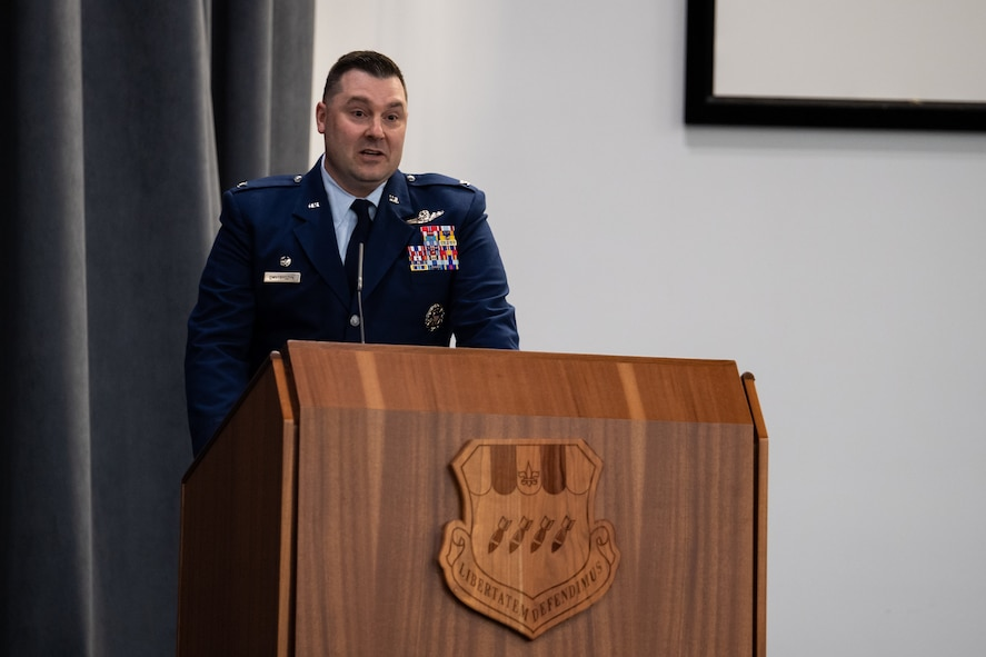 Col. Mark C. Dmytryszyn, incoming 2nd Bomb Wing commander, addresses the crowd during a change of command ceremony at Barksdale Air Force Base, La., July 23, 2020. A change of command is a military tradition that represents a formal transfer of authority and responsibility for a unit from one commanding or flag officer to another. (U.S. Air Force photo by Airman 1st Class Jacob B. Wrightsman)