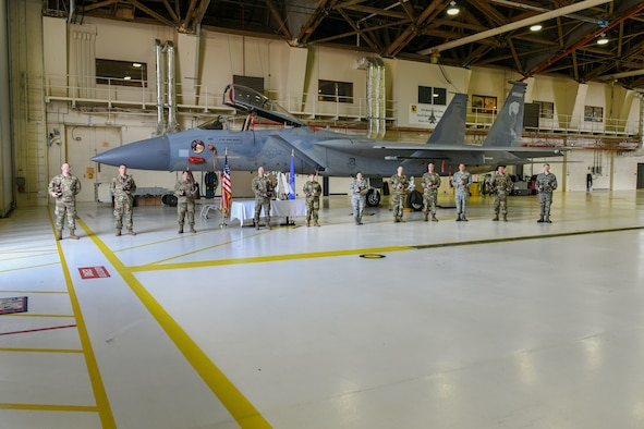 173 MXG Airmen posed by F-15