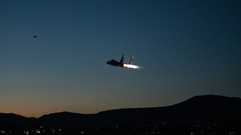 Fighter Jet conducts night flight operations