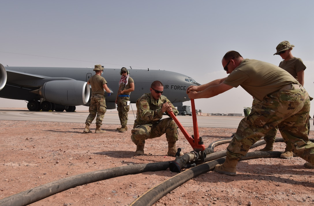 The 378th Expeditionary Logistic Readiness Squadron rapidly refuel a KC-135 Stratotanker from the 23rd Expeditionary Refueling Squadron from Al Udeid Air Base, Qatar at Prince Sultan Air Base, Kingdom of Saudi Arabia, July 13, 2020.