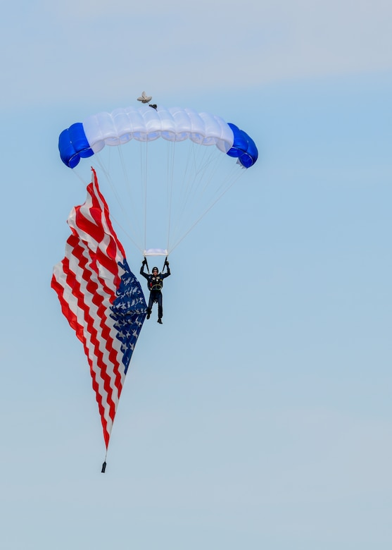 wings of blue parachutist