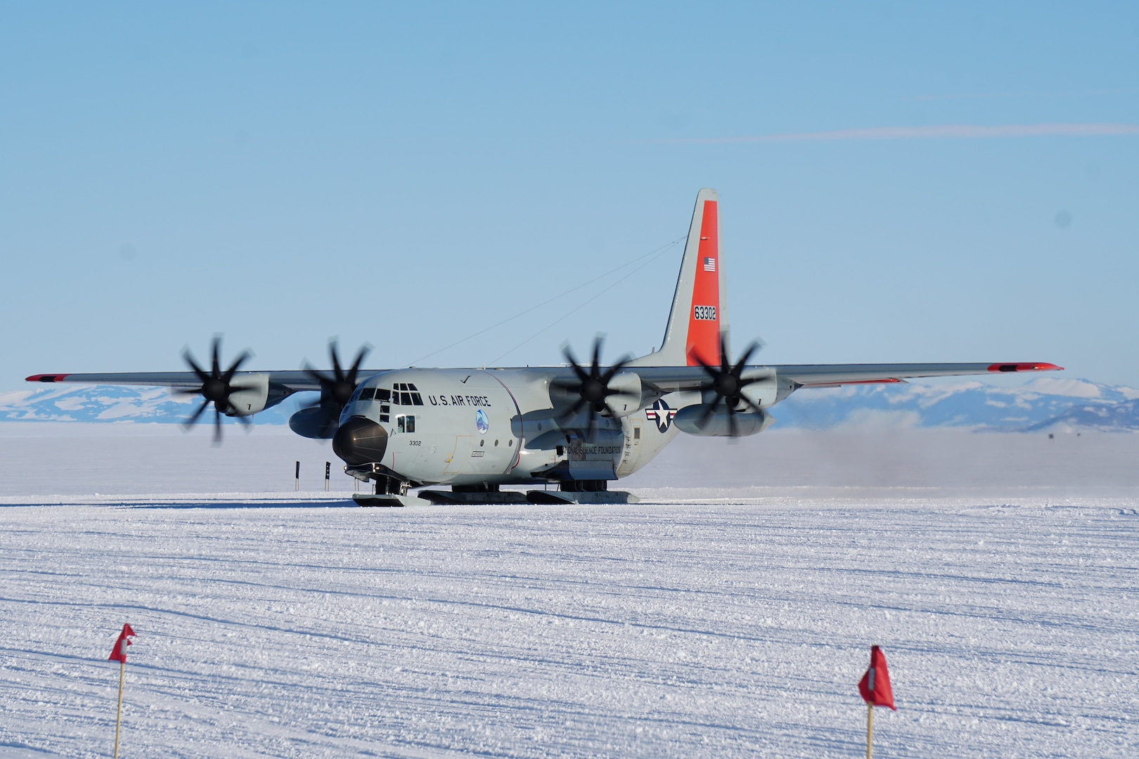 An LC-130 from the 109th Airlift Wing, New York Air National Guard, makes its first landing at Williams Field, McMurdo Station, Antarctica kicking off the 2019-2020 season in November 2019.