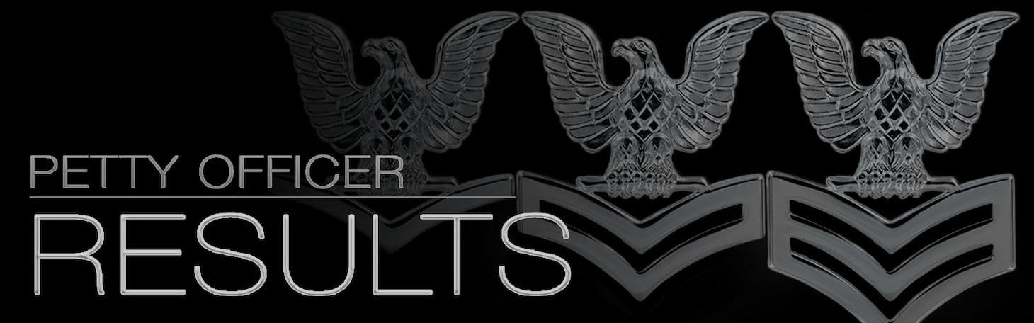 "The words "" Petty Officer Results"" superimposed over three, silver chevrons on a black background."