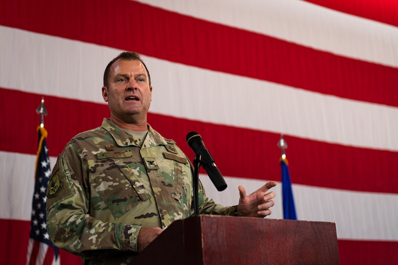 A photo of the Mission Support Group commander speaking